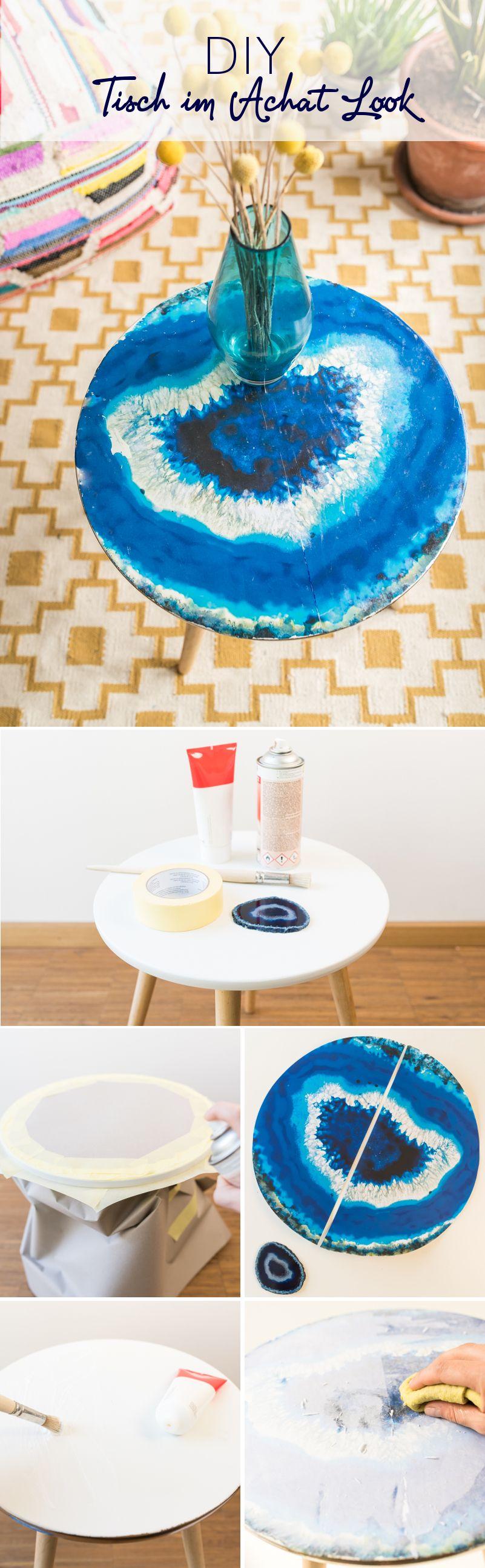 Diy Tisch Im Achat Look Craft And Crafty