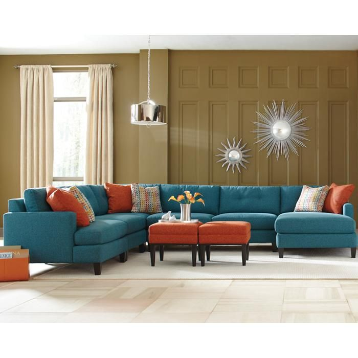 Nebraska Furniture Mart – Moda 5-Piece Blue Contemporary Sectional