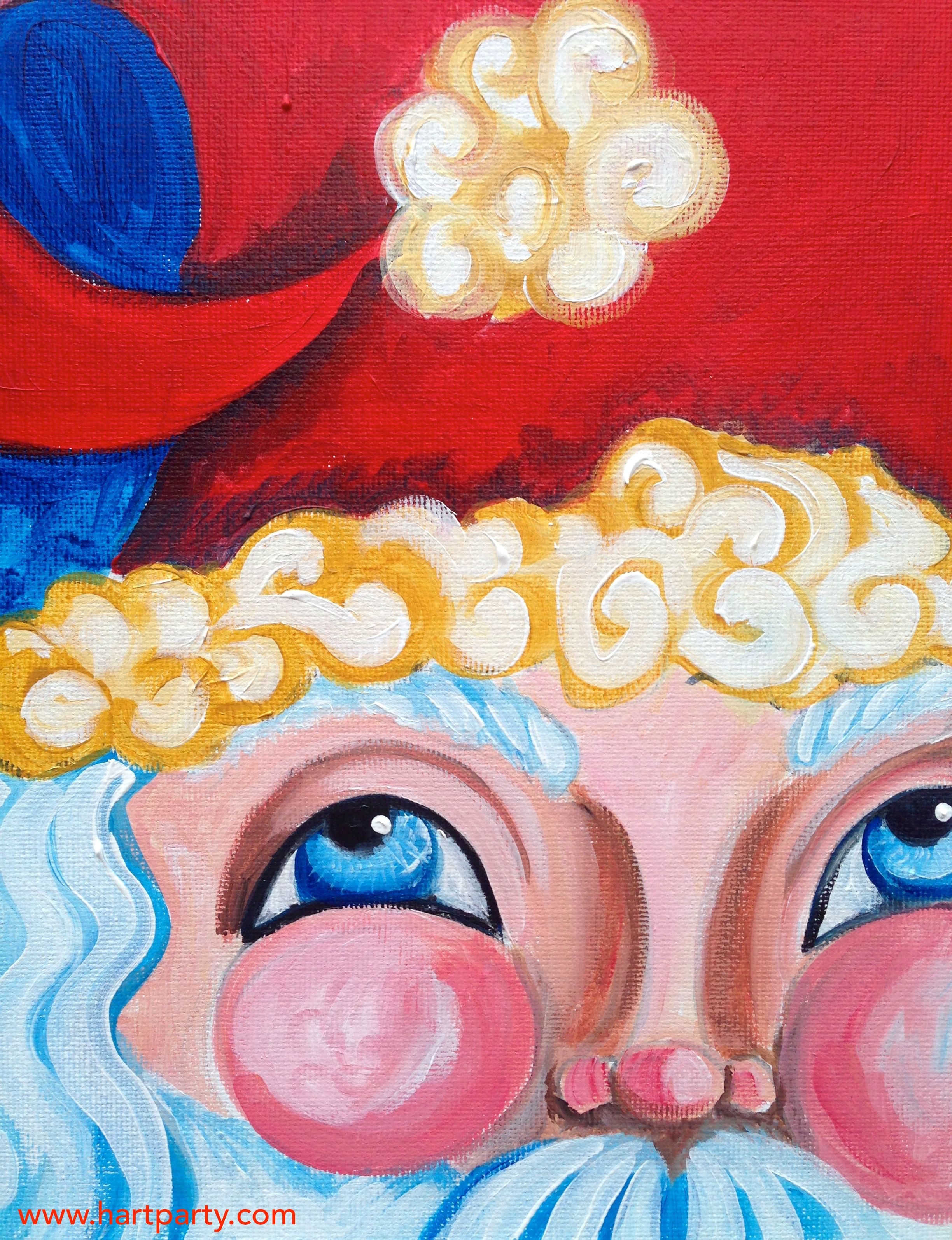 Simple santa holiday painting project easy acrylic art for Easy christmas paintings on canvas