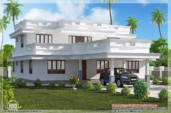 Flat Roof Homes Designs August 2012 Kerala Home Design And Floor Plans Kerala House Design Flat Roof House Bungalow House Design