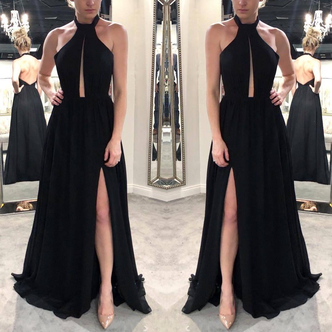 Black halter neck chiffon evening dressbackless prom dressromantic