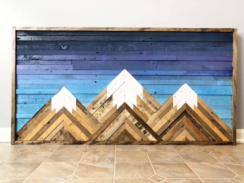 Mountain wood wall artdecor etsy wood wall art decor