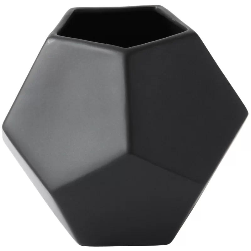 Yulia Faceted Indoor Outdoor Ceramic Table Vase In 2021 Table Vases Black Vase Ceramic Table