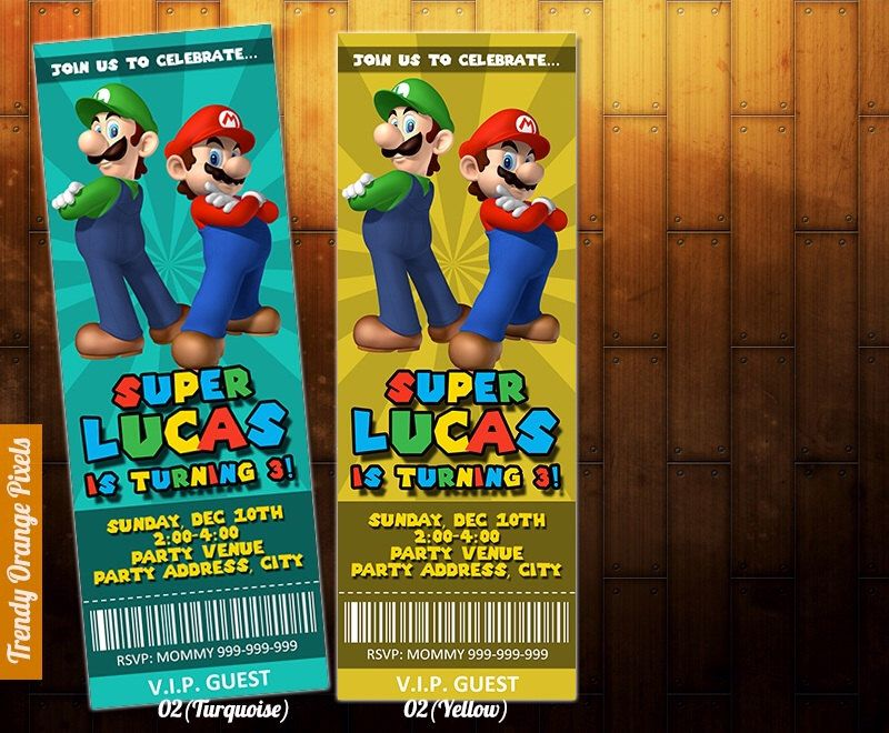 SUPER MARIO brothers birthday ticket invitation, mario birthday ...