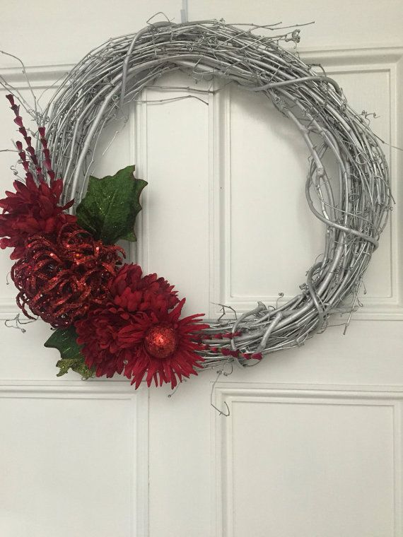 Silver Christmas Wreath Red Holiday Wreath Red by MeeandMommy