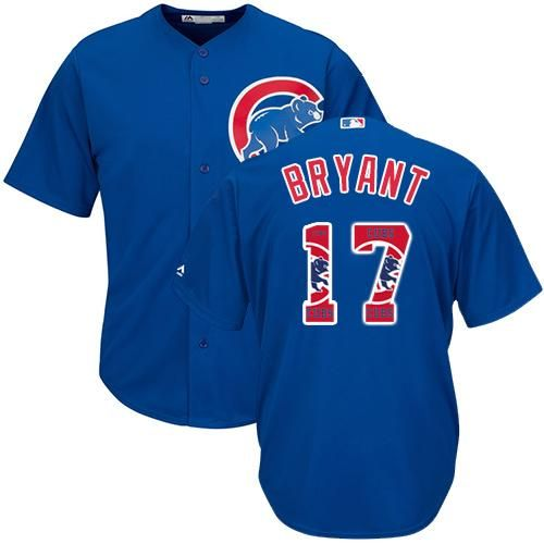 cubs 17 kris bryant blue team logo fashion stitched mlb jersey