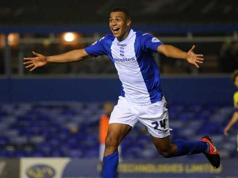 Tom Adeyemi celebrates his first Blues goal against Swansea City in the Capital One Cup. September 2013. #BCFC