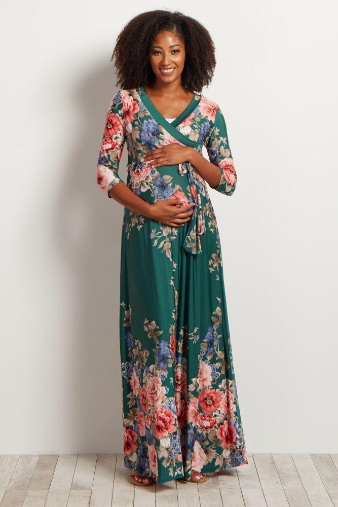 0a9e3446a6d Green-Floral-Sash-Tie-Maxi-Dress