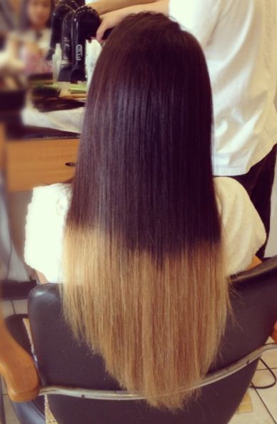 Perfect example of an ombré gone TERRIBLY wrong... I would hope that nobody would want their hair to look like this.