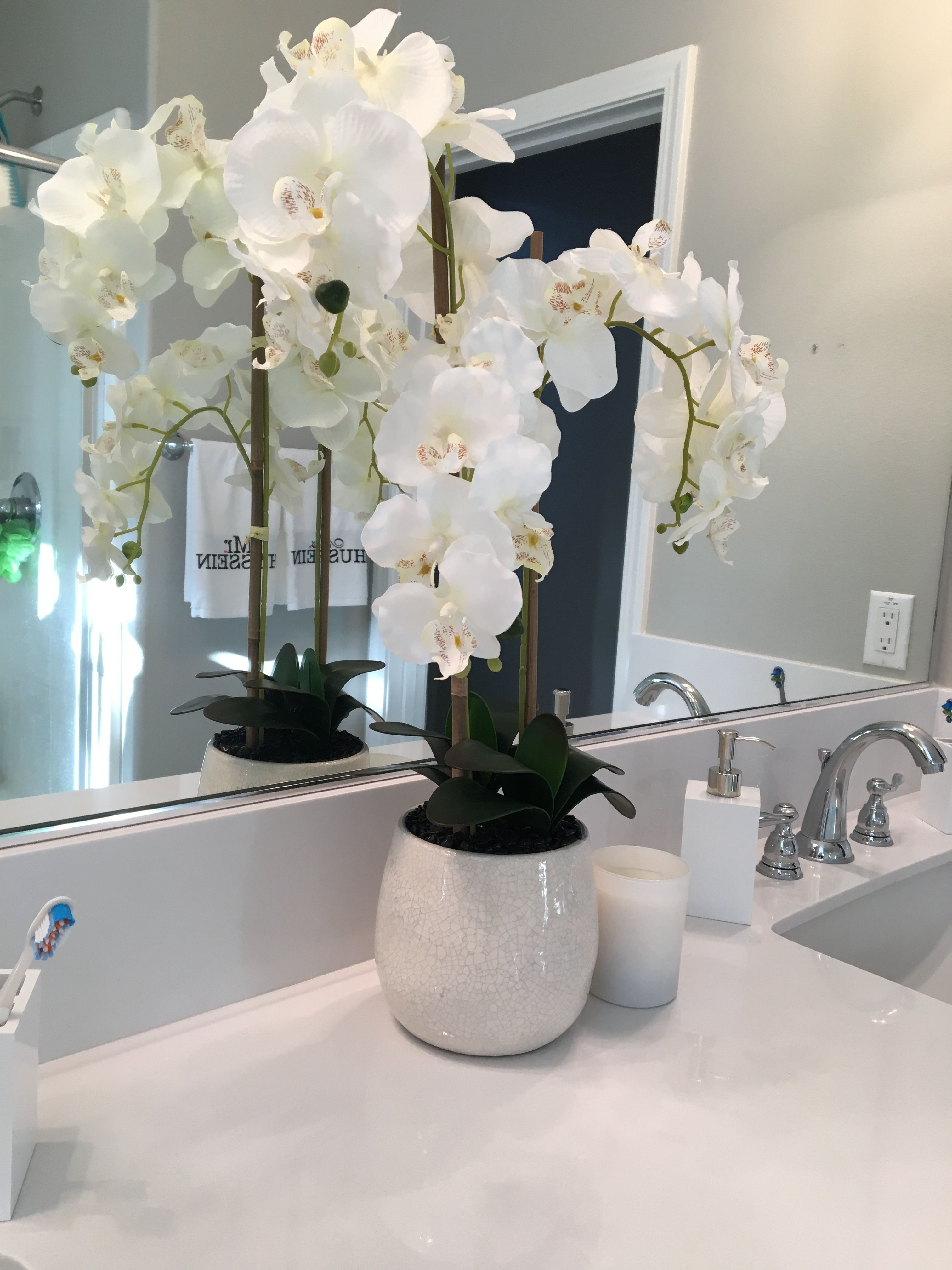 Bathroom Shelves Modern Clean White And Grey Added Shelves Green Transitional New Construction Socal Ho Bathroom Plants Bathroom Flowers Contemporary