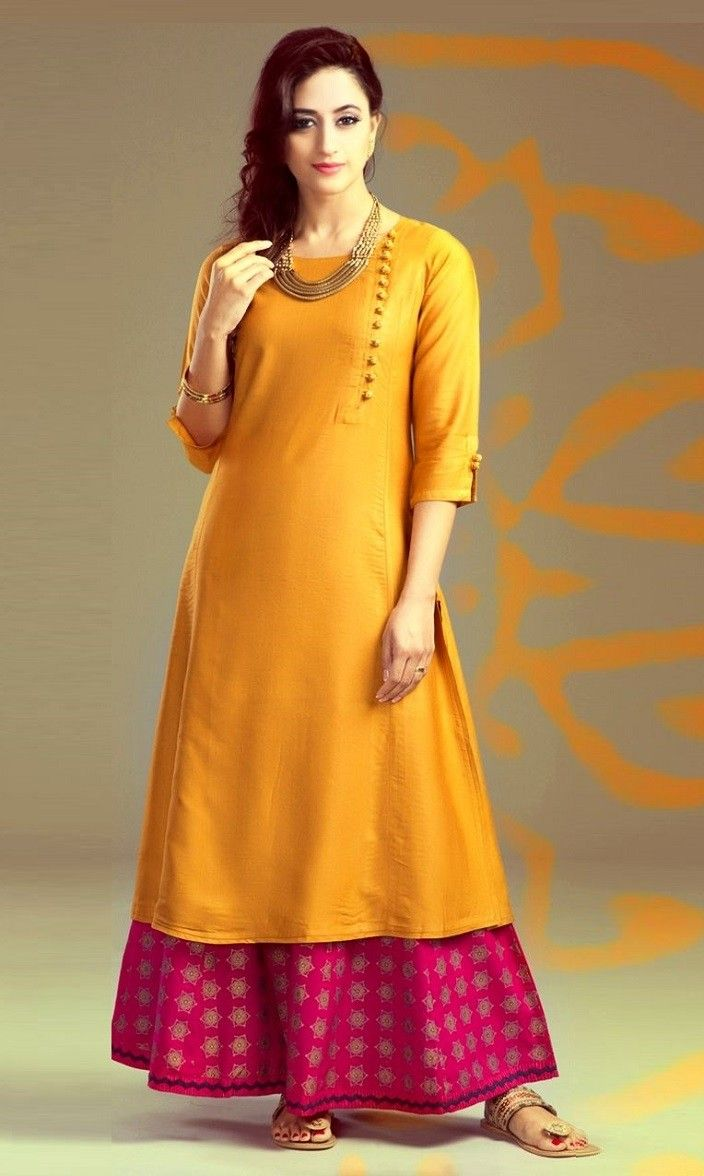 05d7f4bfc9405 Poly Silk Orange Plain Unstitched Palazzo Style Suit - A50 in 2019 ...