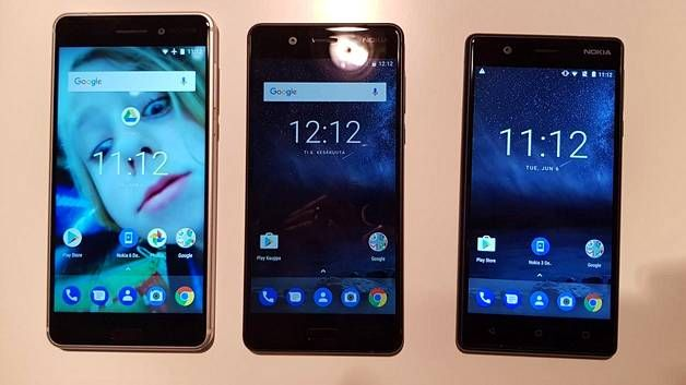 Vasemmalta oikealle: Nokia 6, 5 ja 3. Nelonen jää puuttumaan jatkossakin.