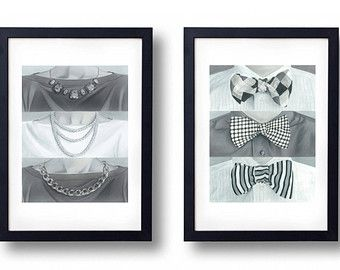 Superieur His And Her Art, Bathroom Art, Black And White Bathroom Decor, Bow Tie And  Necklace Art Prints, Restroom Signs. Price Includes Each Print. By ...