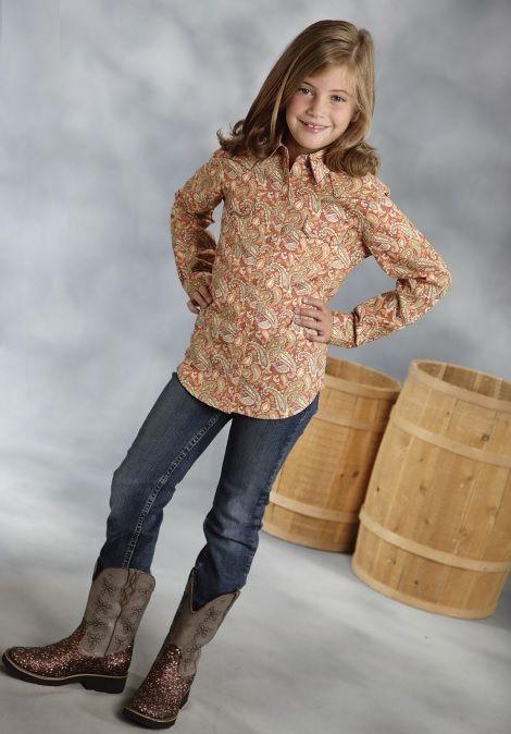 6e5e055dc78326 Roper girls orange paisley cotton long sleeve snap kids western shirt