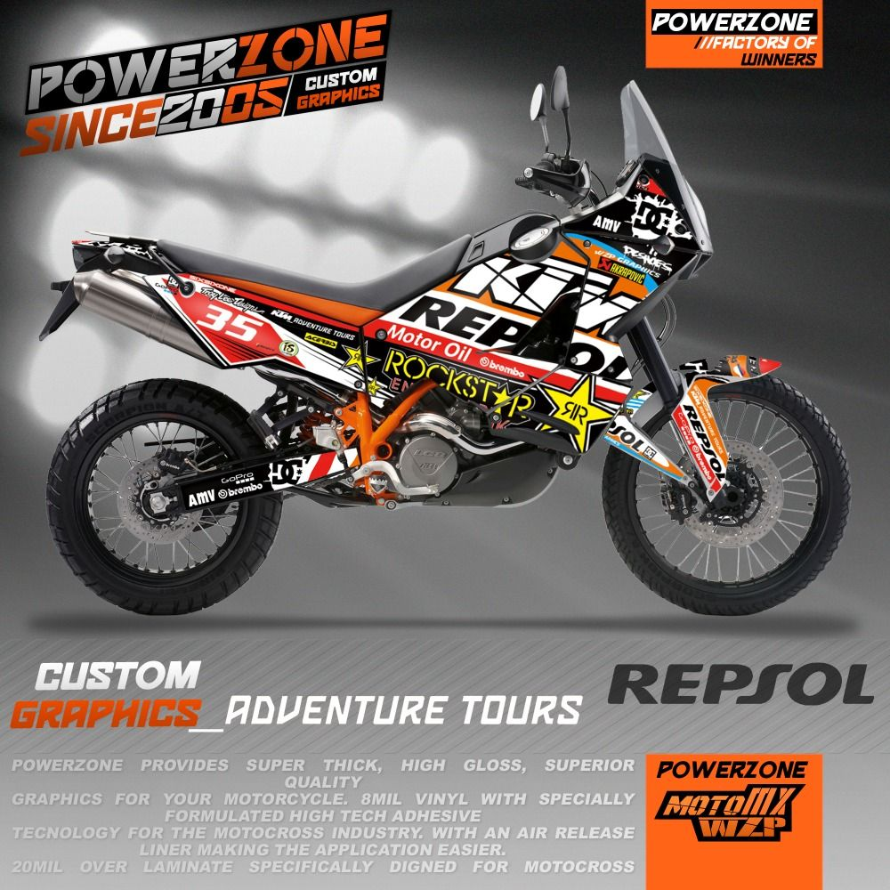 Team Custom Graphics Backgrounds Repsol Decals 3m Stickers Kits For Ktm Adv 950 990 Adventure Customized Graphics Free Shipp Custom Graphics Adventure Bike Ktm
