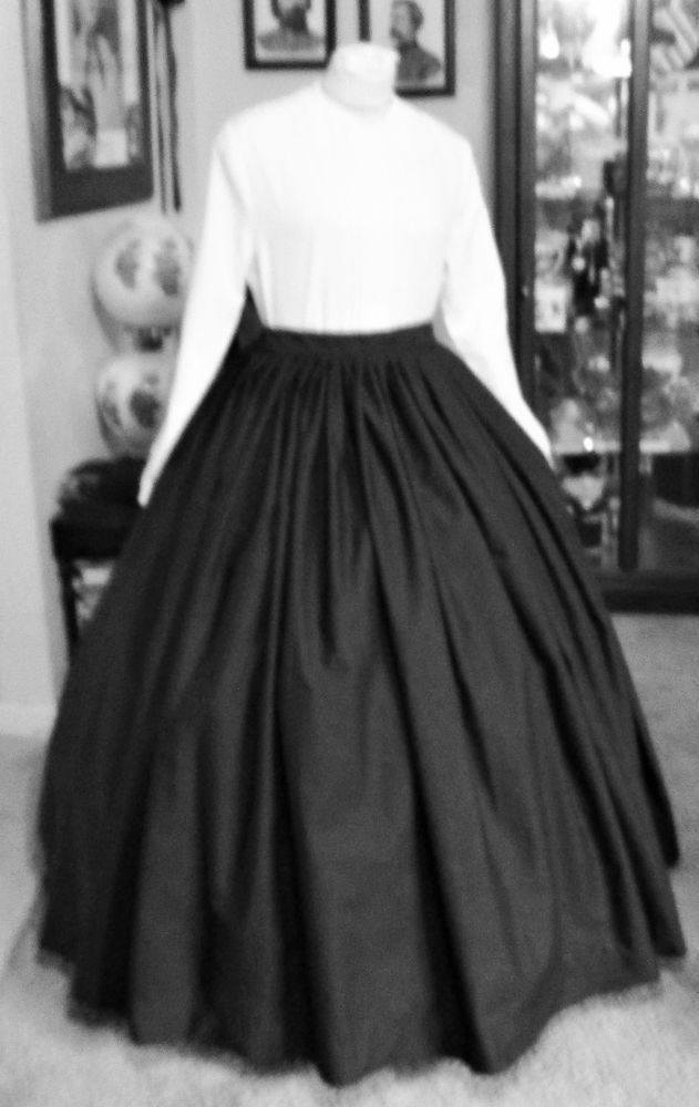 Details about CIVIL WAR DRESS~VICTORIAN STYLE LOVELY 100% COTTON BLACK MOURNING OR DAY SKIRT #dressesfromthesouthernbelleera