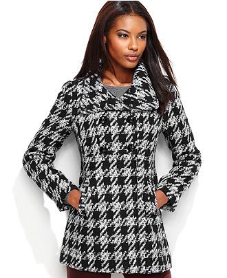 GUESS Petite Coat, Textured-Houndstooth Pea Coat - Womens Petite ...