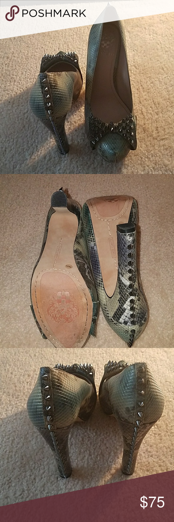 Spiked Heels Snake pattern Heels worn once !!! Fashion statement Vince Camuto Shoes Heels