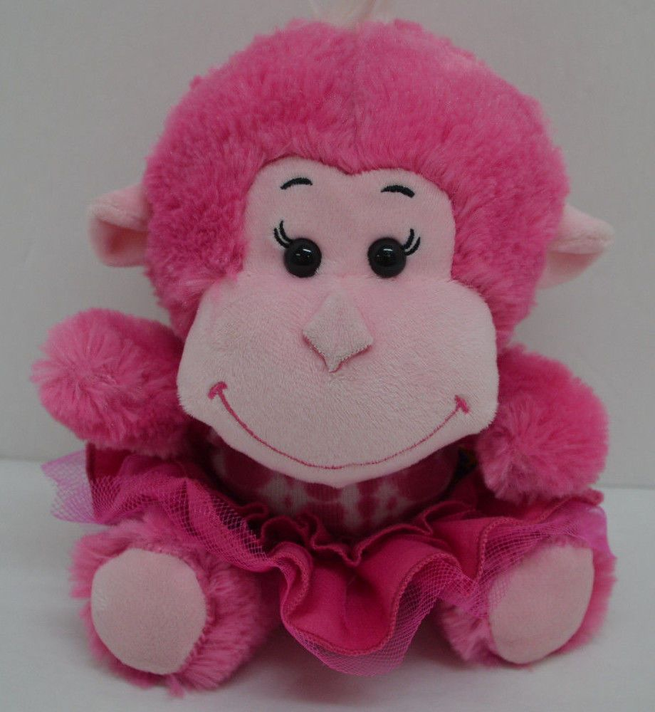 Build A Bear BABW Smallfrys Monkey Plush Pink Tie Dye Dress ...