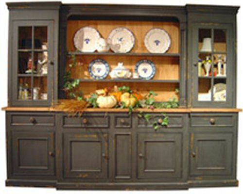 Monmouth Hutch Large China Cabinet  Country Cottage Style 9 Ft Distress Levels