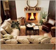 sectional placement with fireplace - Google Search