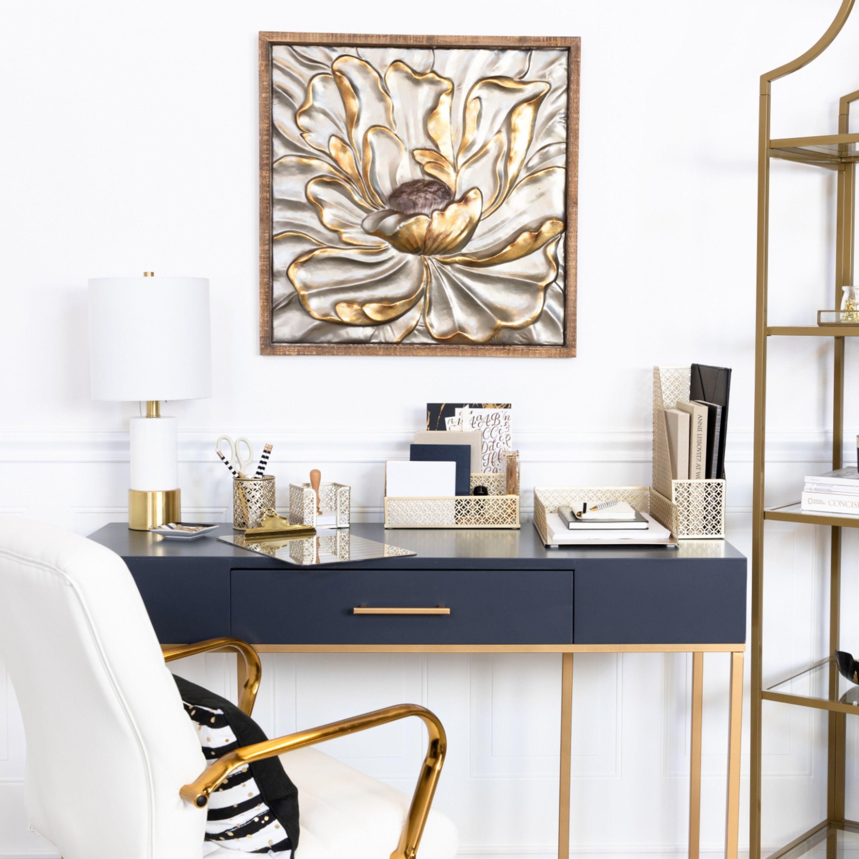 Office Deskorganization: Blu Monaco Gold 5 Piece Cute Desk Organizer Set