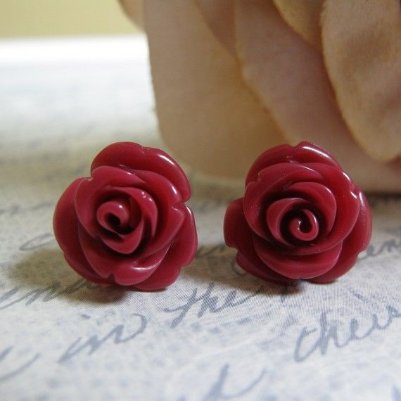 Flower Stud Earrings Burgundy Rose Bud Surgical Steel Posts Vintage Bordeaux