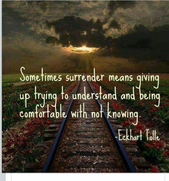 "Image result for Sometimes surrender means giving up trying to understand and becoming comfortable with not knowing."" – Eckhart Tolle"