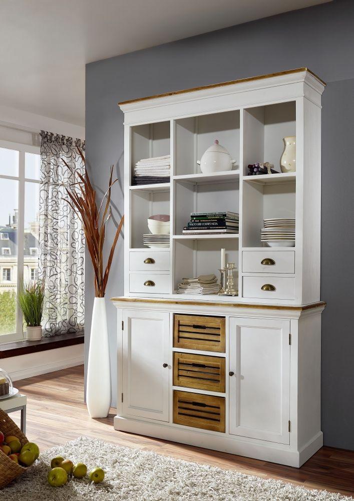 PALINA Küchenbuffet 2 teilig, weiß lackiert Wohnzimmer