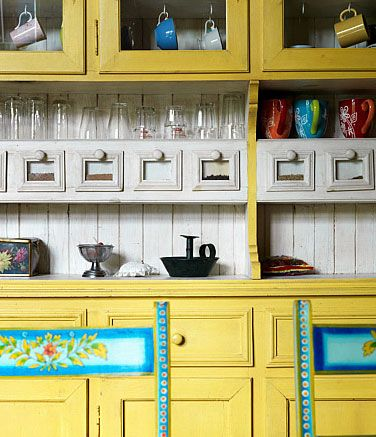 Yellow And Turquoise Color Schemes Vintage Kitchen