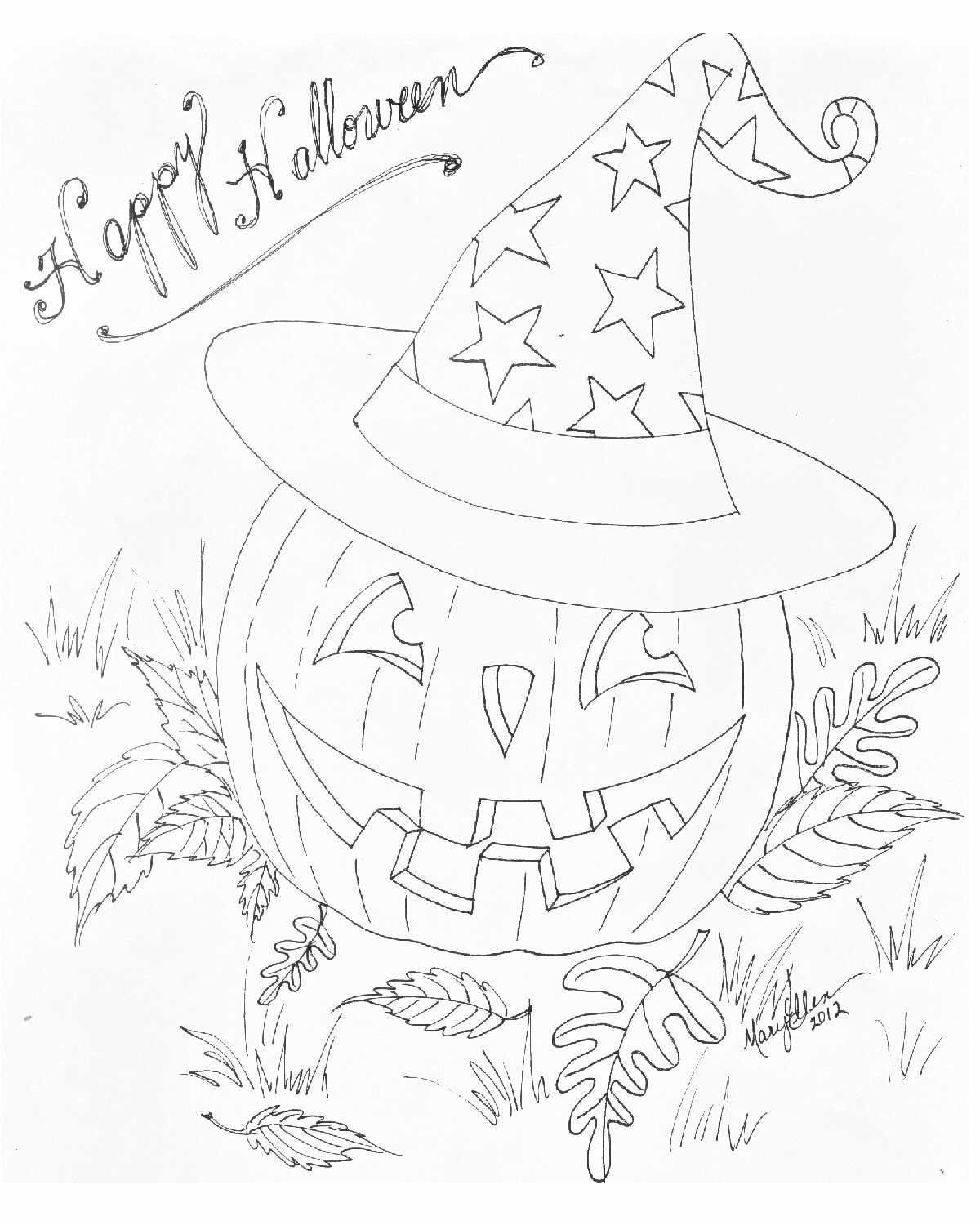 A coloring page for you, by me! Happy Halloween! (Please