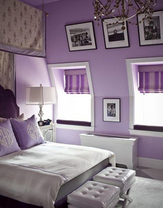Lila Schlafzimmer Mit Dachschräge Lila Wände, Schlafzimmer Ideen,  Kinderzimmer, Innenraum, Haus Und