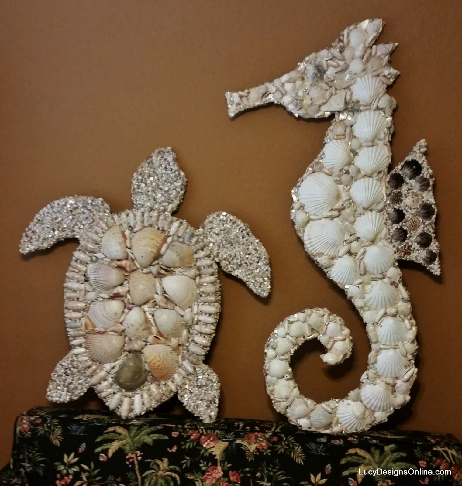 Stained glass and seashell mosaic sea creatures octopus for Seashell mosaic art