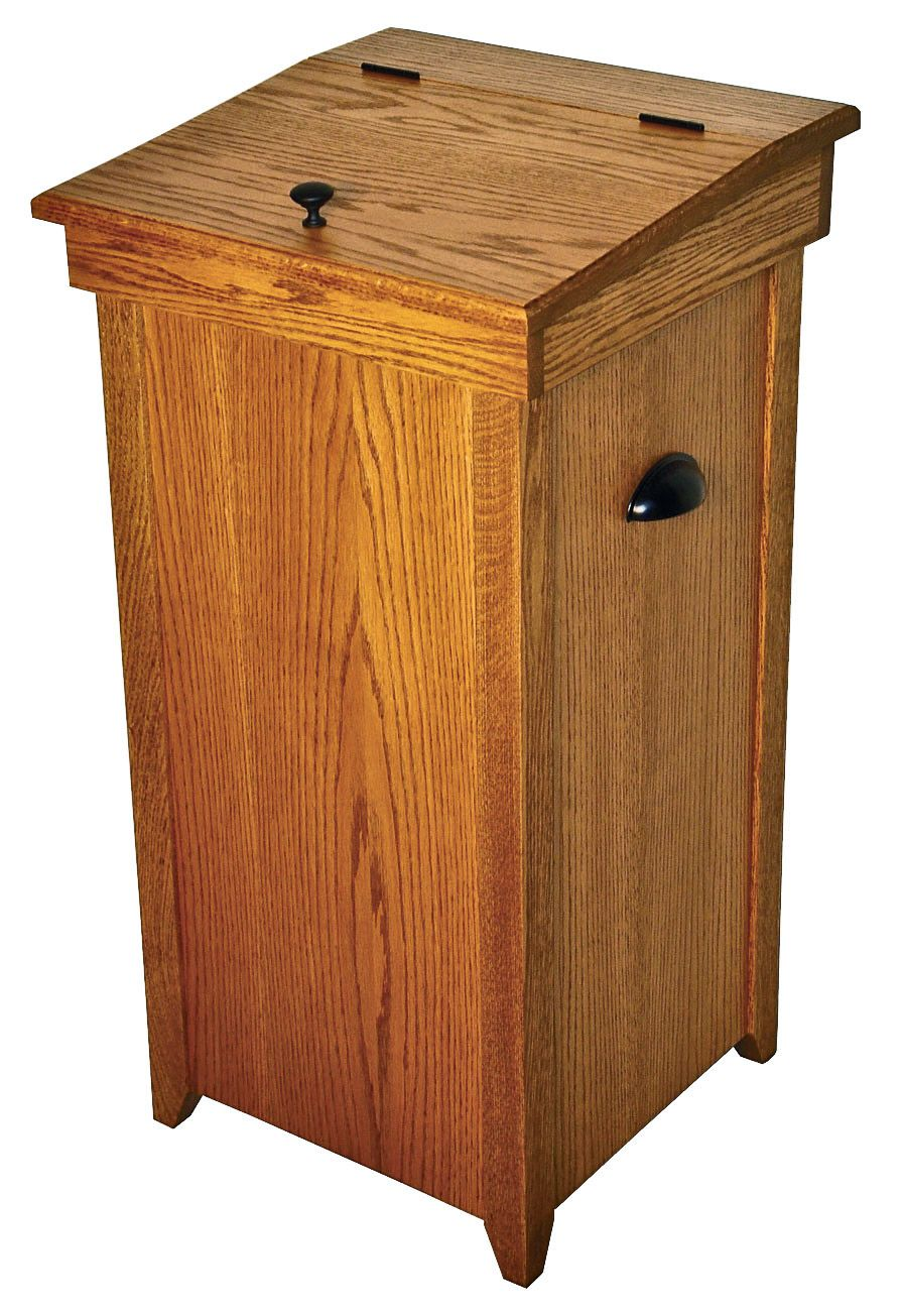 kitchen trash bin backsplash design wooden amish cans bins laundry handmade ohio garbage containers ship free east of the