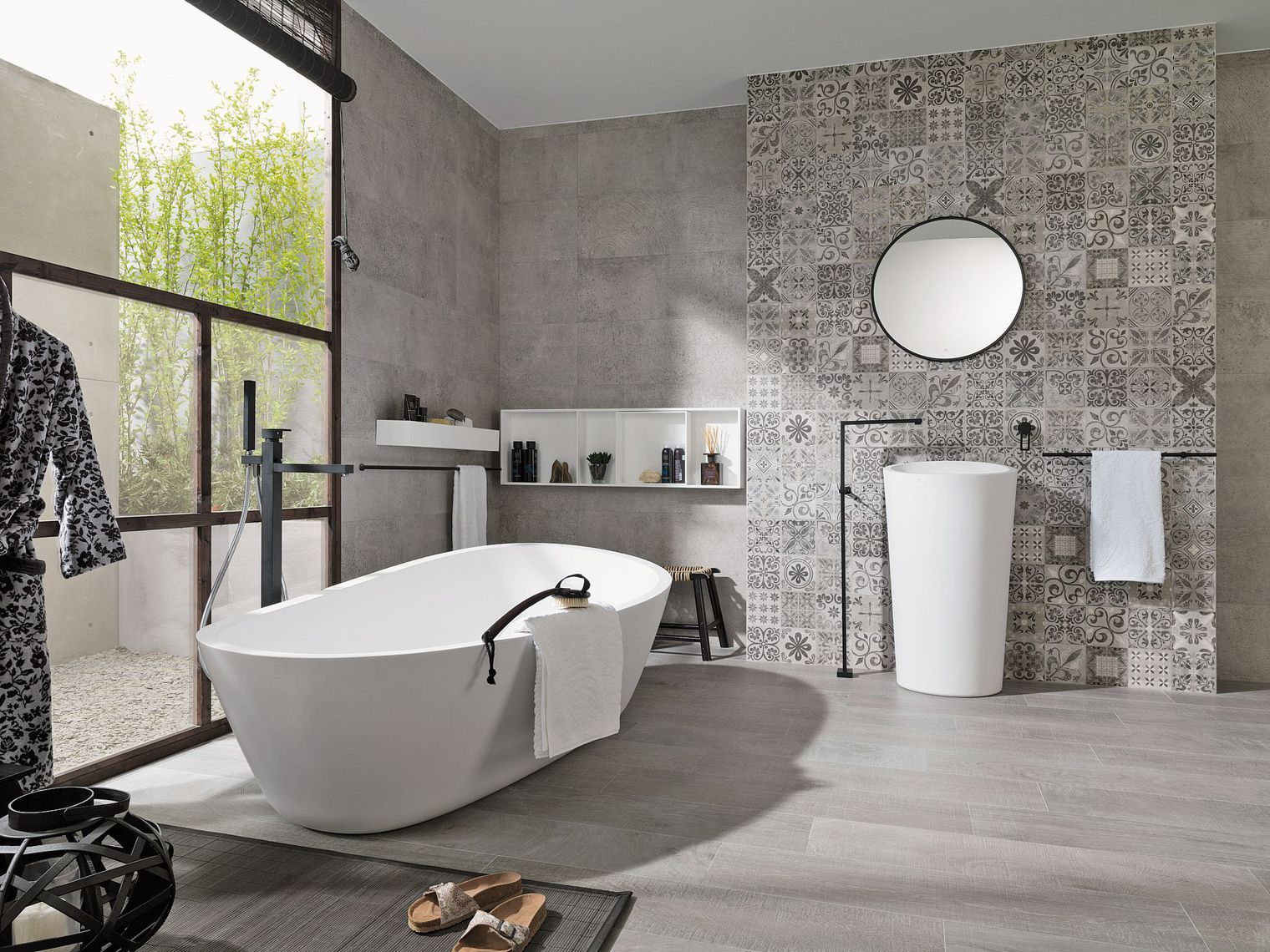 salle bain avec carrelage noir tag vvcom hexagonal motif. Black Bedroom Furniture Sets. Home Design Ideas