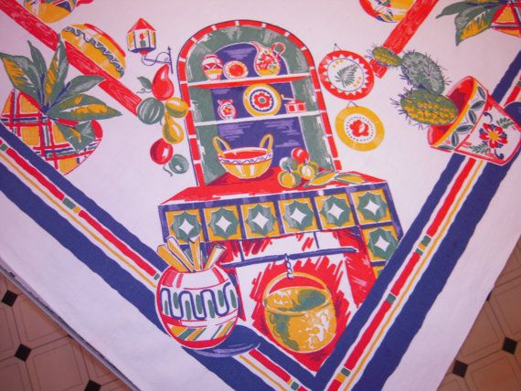 Great Vintage Mexican Tablecloth Colorful Pottery On By Unclebunkstrunk, $74.99