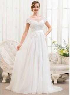 Bröllopsklänningar - $201.99 - A-linjeformat Rund-urringning Sweep släp Tyll Charmeuse Spetsar Bröllopsklänning med Pärlbrodering Paljetter  http://www.dressfirst.se/A-Linjeformat-Rund-Urringning-Sweep-Slaep-Tyll-Charmeuse-Spetsar-Broellopsklaenning-Med-Paerlbrodering-Paljetter-002052783-g52783