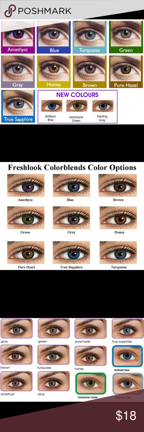 2 Pair Freshlook Colorblend Contacts 12 Colors 1 Pair Freshlooks