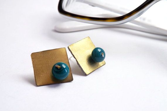 square teal stud earrings geometric  earrings brass by amabito, €15.00