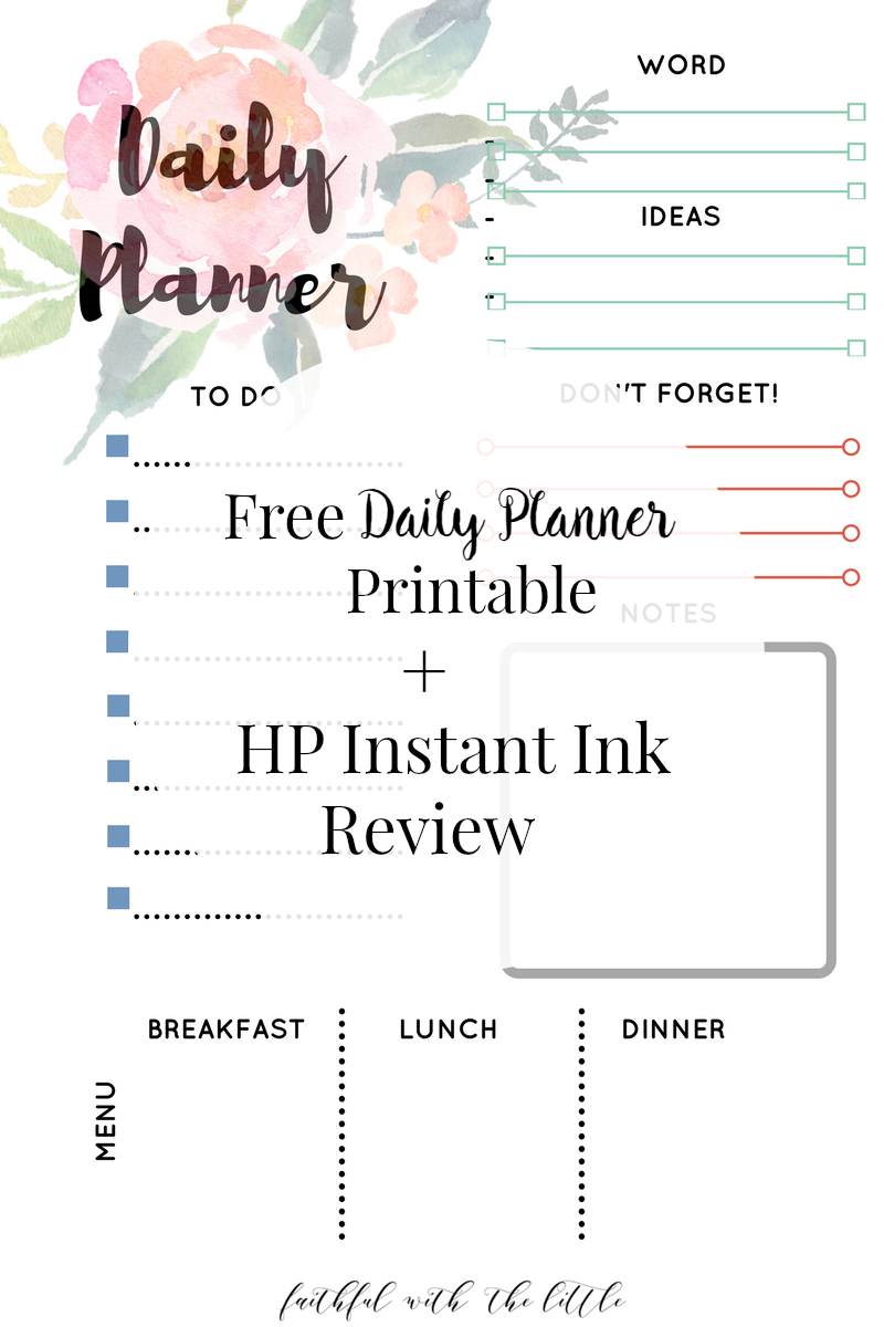 Free Daily Planner Page Printable Hp Instant Ink Review Www