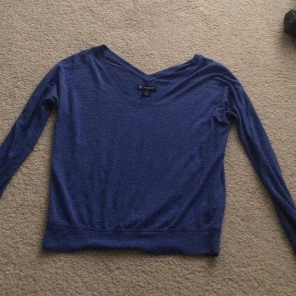 American eagle top! Cute blue long sleeved American eagle top with silver pinstripes. Perfect condition. American Eagle Outfitters Tops