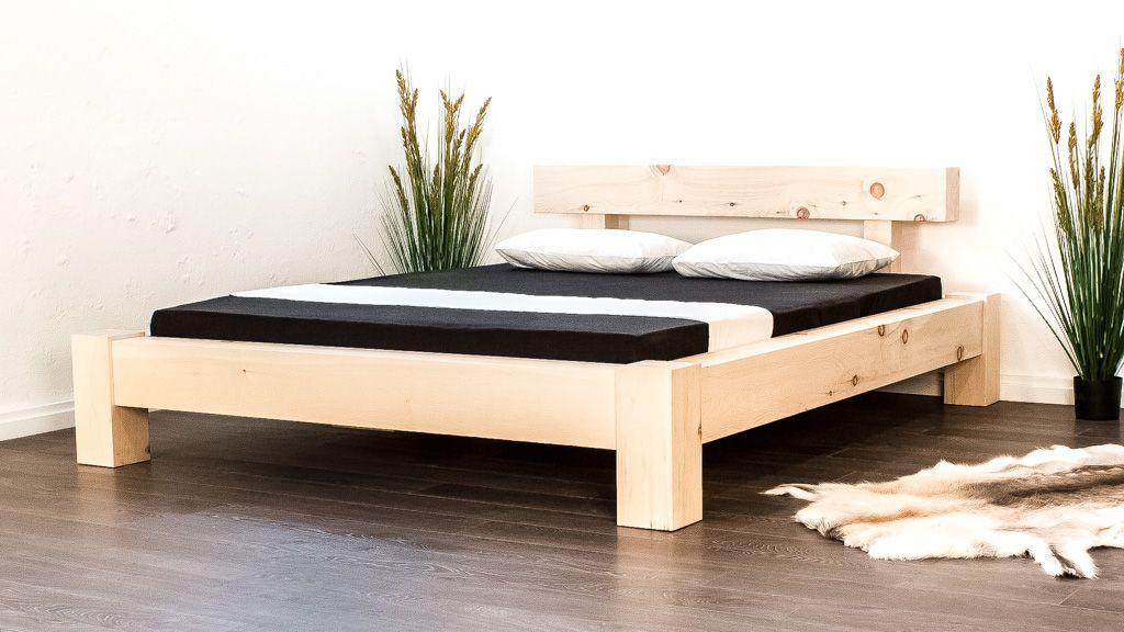 Naturholzbett Massivholz Balkenbett Schweiz Arve Bett Holzbetten Bett Ideen