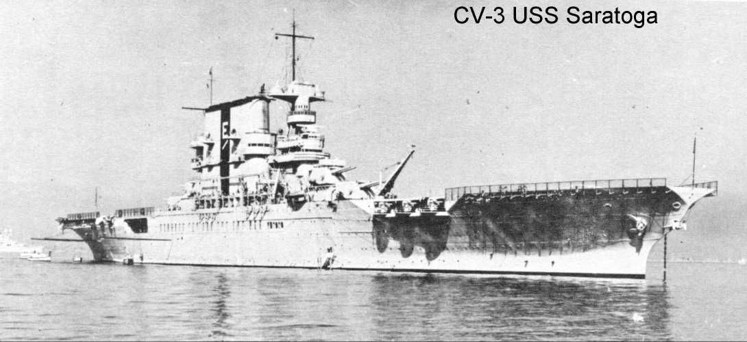 """USS Saratoga CV 3 at anchor 1939 - 1940. Saratoga could be identified by the large vertical stripe on her funnel. Note the 8"""" guns in turrets before and after the island. They were removed during WWII"""