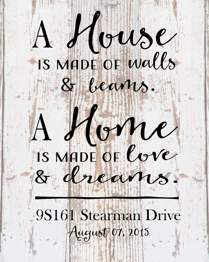 Custom Address Date Home is made of love and dreams Wood Sign Canvas ...