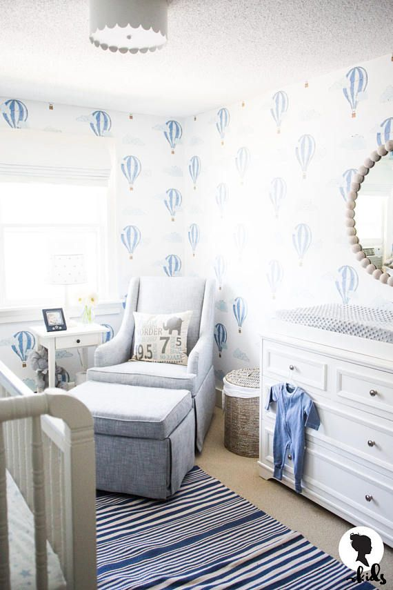 Watercolor Air Balloon Removable Wallpaper, Baby Boys