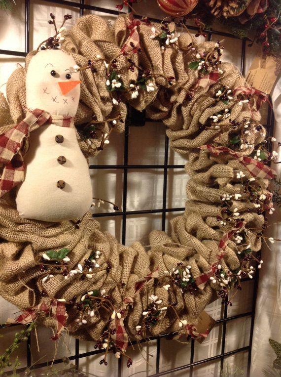 Christmas Burlap Winter Burlap Wreath Burlap Snowman Snowman Country Snowman Wreath Primitive Snowman W Burlap Wreath Burlap Christmas Wreath Primitive Snowmen
