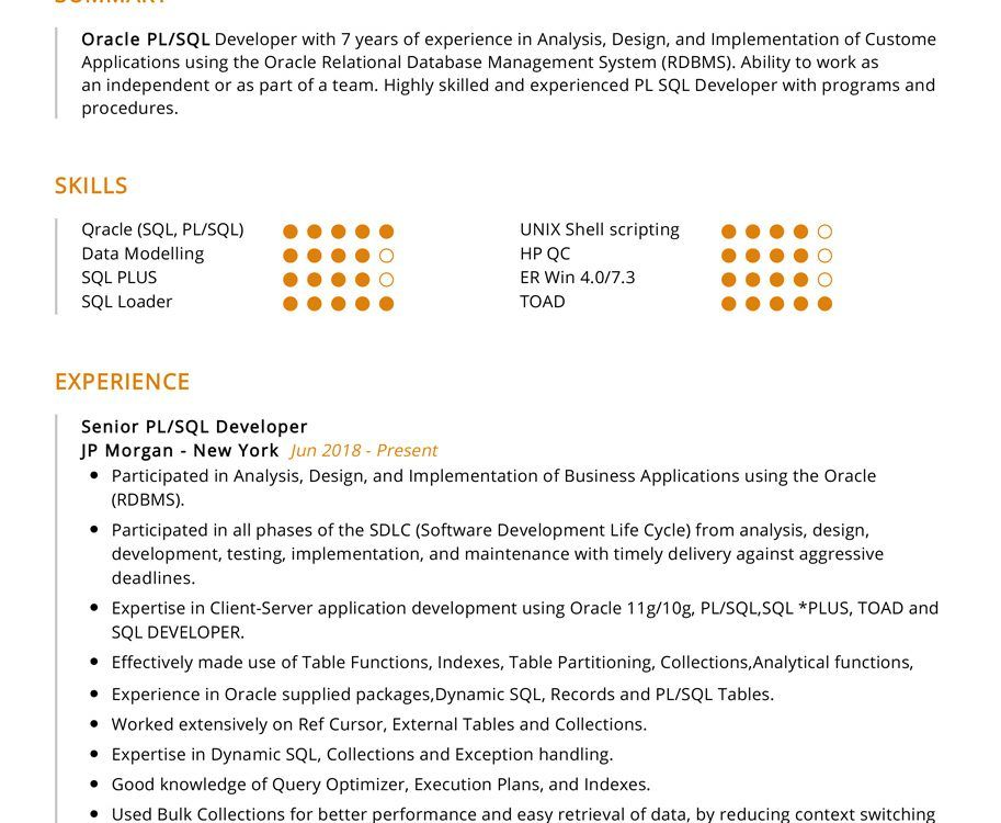 Pl Sql Developer Resume Sample Cv Sample 2020 Resumekraft In 2020 Relational Database Management System Pl Sql Sql