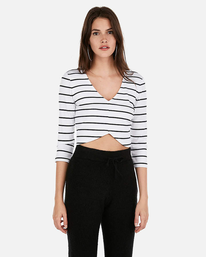 2fd2a44f086 Express Olivia Culpo Striped Cropped Hi-Lo Tee   Products in 2019 ...