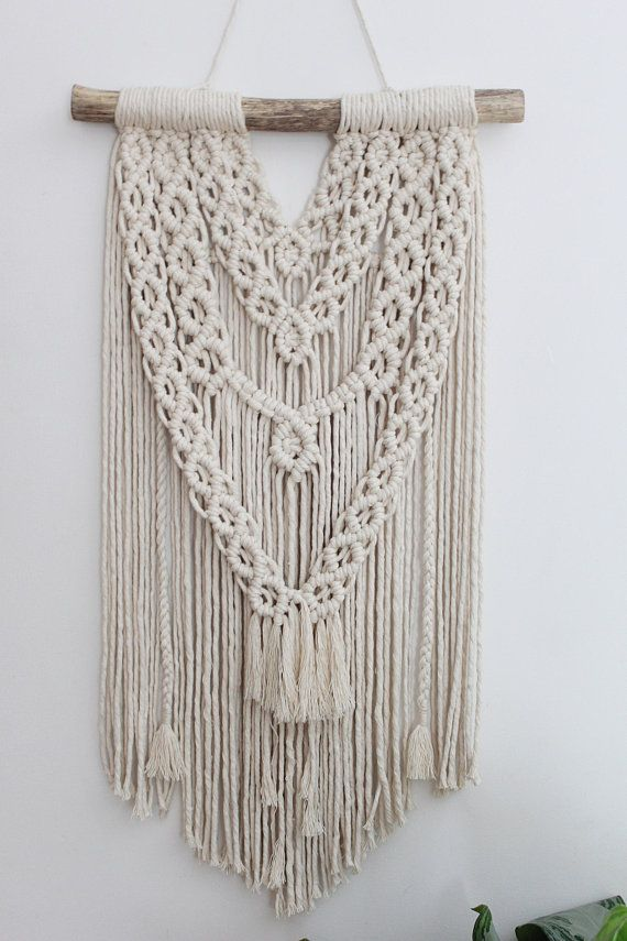 large macrame wall hanging chunky cotton on driftwood on macrame wall hanging id=88552