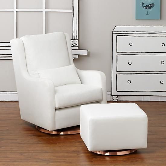 Milo Glider Ottoman White W Copper Base The Land Of Nod